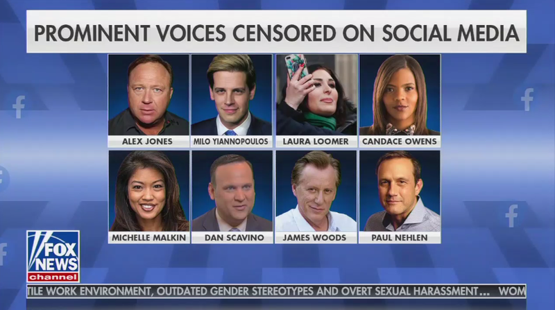 """A Fox News Ingraham Angle list of """"prominent voices censored on social media."""""""