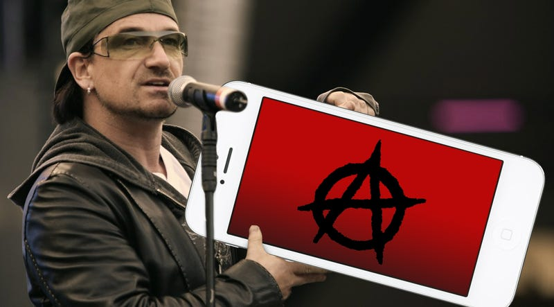 "Illustration for article titled U2 Thinks Putting Its Album on Your iPhone Is ""Really Punk Rock"""