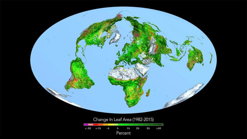 Changes in the greenness of Earth's surface, according to a new satellite ananlysis. Image: Ranga Myneni