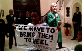 Ashley Williams confronts Hillary Clinton during an event in Charleston, S.C., on Feb. 24, 2016.YouTube screenshot