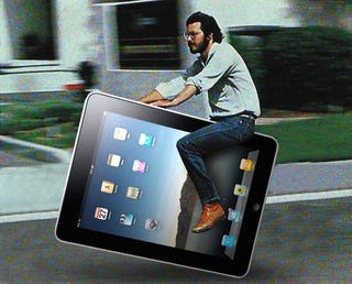 Illustration for article titled No, Steve Jobs Does Not Ride An iPad