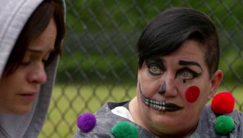 Illustration for article titled OITNB'sBig Boo, Dressed as Clown, Explains How Abortion Reduces Crime