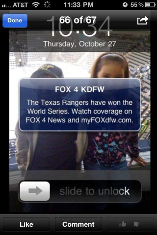 Illustration for article titled The Texas Rangers Are Not World Champions, Possibly Thanks To FOX Dallas's Jinx