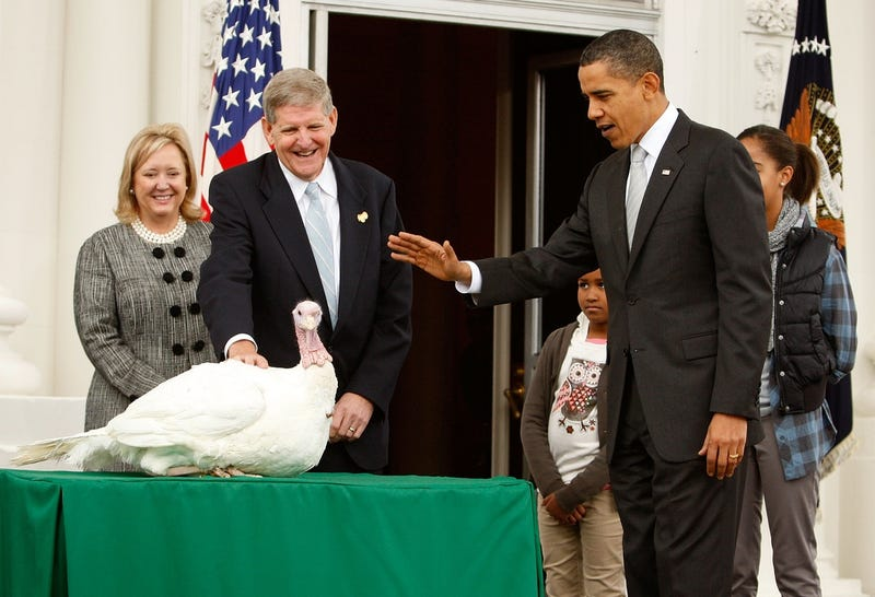 President Obama pardons his first turkey, Courage, in a ceremony in 2009 (Photo by Alex Wong/Getty Images)