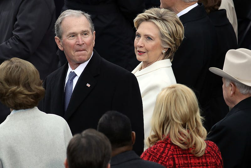 Former President George W. Bush and Hillary Clinton at the inauguration of President Donald Trump on Jan. 20, 2017, in Washington, D.C. (Drew Angerer/Getty Images)