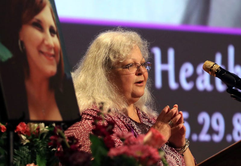 Susan Bro, mother to Heather Heyer, speaks during a memorial for her daughter at the Paramount Theater on Aug. 16, 2017, in Charlottesville, Va. (Andrew Shurtleff-Pool/Getty Images)