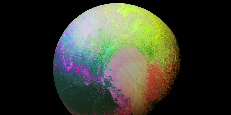 Illustration for article titled Pluto Shows Its Principal Colors in This Psychedelic Shot