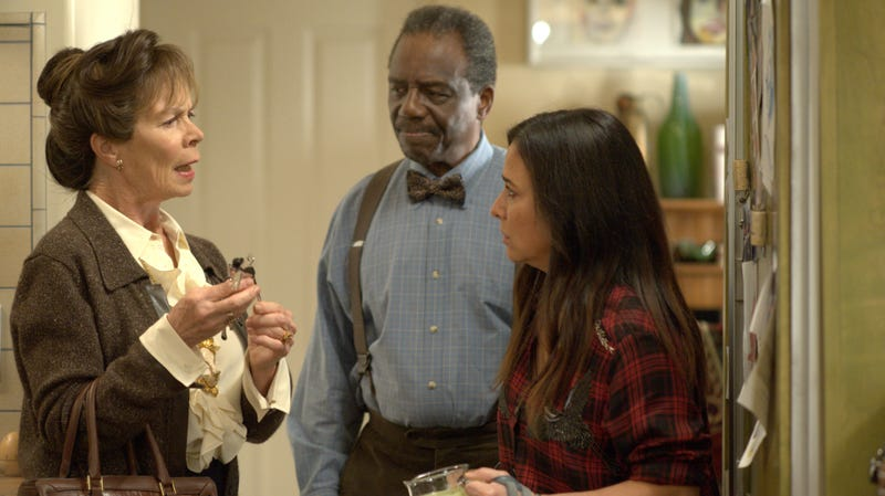Celia Imrie, Harrison Page, and Pamela Adlon