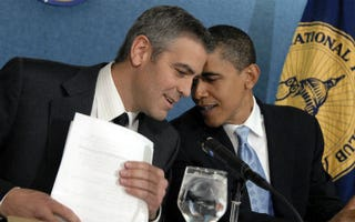Actor George Clooney and President Obama (Tom Williams/CQ-Roll Call/Getty Images)