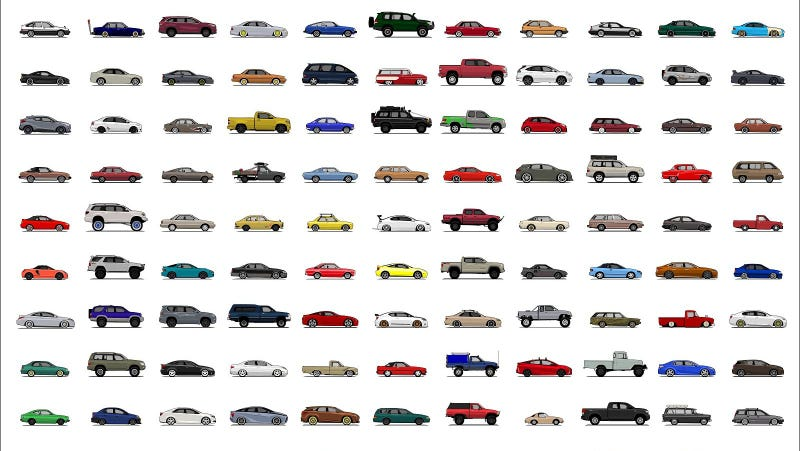 Illustration for article titled Now's Your Chance To Get A Poster Featuring Literally Every Single Toyota Ever Sold Here
