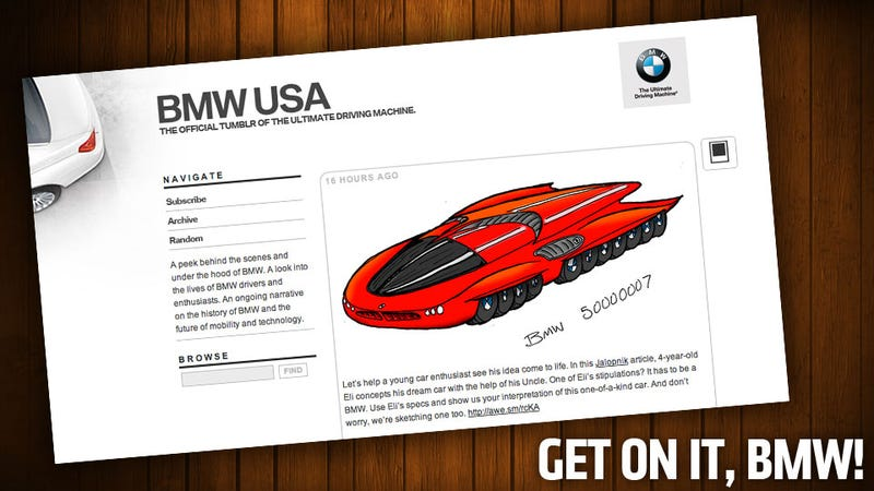 Illustration for article titled BMW Wants In On Designing Four-Year Old's Car