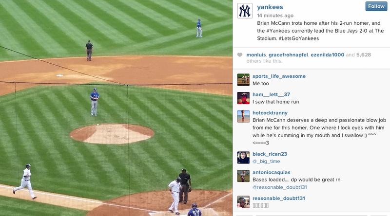 Illustration for article titled Instagram User Thrilled By Brian McCann Home Run Leaves X-Rated Comment