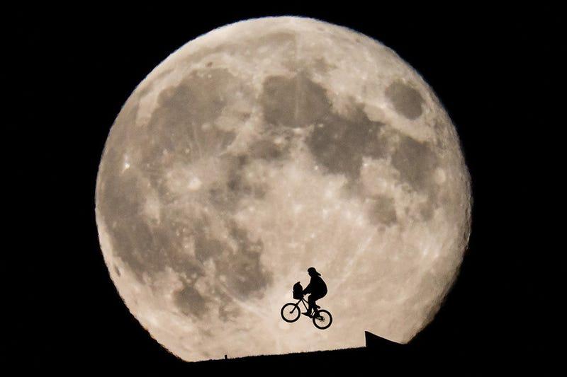 Illustration for article titled Ez az E.T.? Photoshop? Nem! Valaki lefotózta a Holdat repülő bringával