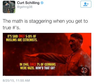 Illustration for article titled And Now, Curt Schilling With Some Cool Thoughts About Muslims And Nazis