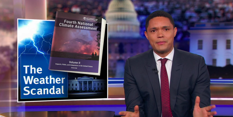 Illustration for article titled Trevor Noah mocks the rising tide of climate change deniers on cable news