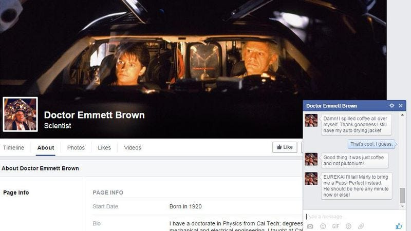 Illustration for article titled Now you can have a virtual Facebook chat with Back To The Future's Doc Brown