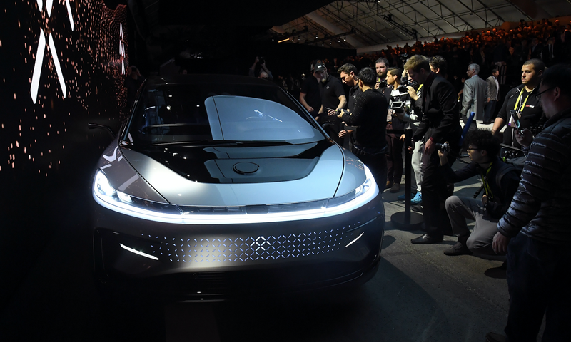 The FF 91, which Faraday Future unveiled at the Consumer Electronics Show in January. Photo credit: Ethan Miller/Getty Images