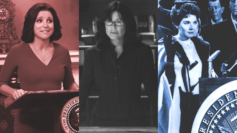 Julia Louis-Dreyfus as Selina Meyer (Photo: Lacey Terrell/HBO), Mary McDonnell as Laura Roslin (Photo: Carole Segal/NBC/NBCU Photo Bank via Getty Images), and Polly Bergen as Leslie McCloud (Photo: Hulton Deutsch/Getty Images). Graphic: Emi Tolibas.