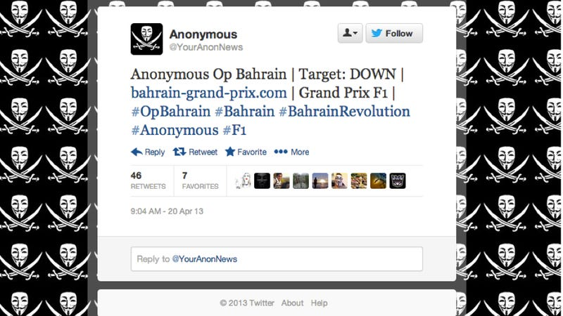 Illustration for article titled Anonymous Briefly Takes Down Bahrain Grand Prix Website