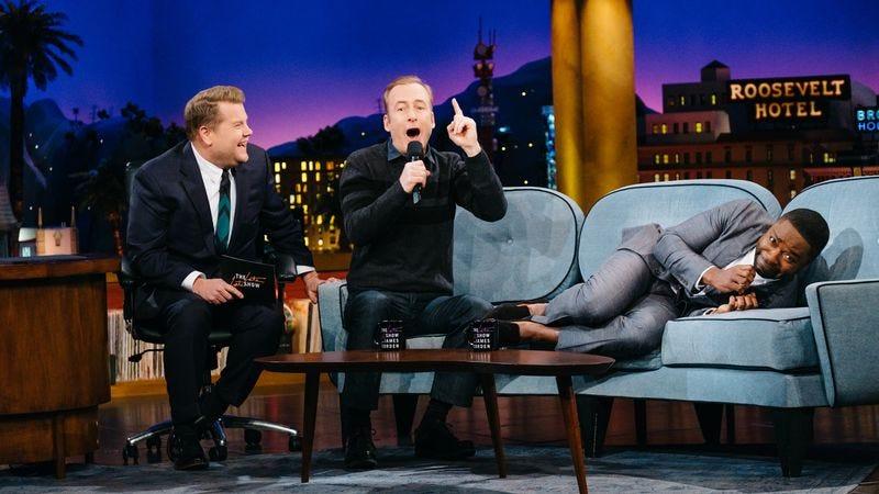 James Corden (left), Bob Odenkirk, David Oyelowo (Photo: Terence Patrick/CBS)