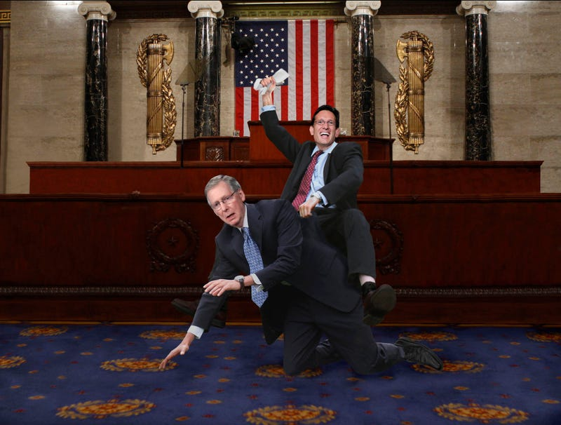Illustration for article titled Eric Cantor Tossed By Bucking Mitch McConnell During Congressional Rodeo
