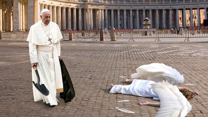 Illustration for article titled Pope Cleans Up Dead Angel Who Flew Into Sistine Chapel Window