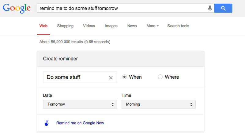 Illustration for article titled Set Reminders in Google Now Just By Searching Text on Your Laptop
