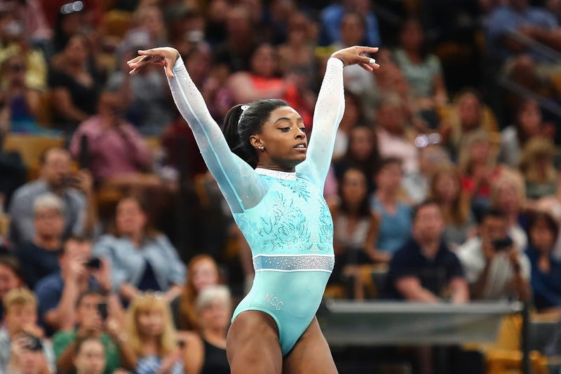 Simone Biles performs her floor exercise during day four of the U.S. Gymnastics Championships 2018 on Aug. 19, 2018 in Boston, Massachusetts.