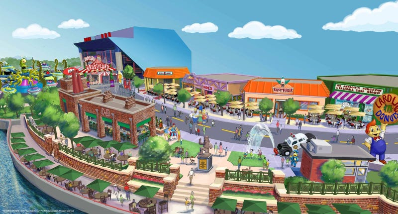 Illustration for article titled Can you spot every detail in this Simpsons theme park concept art?