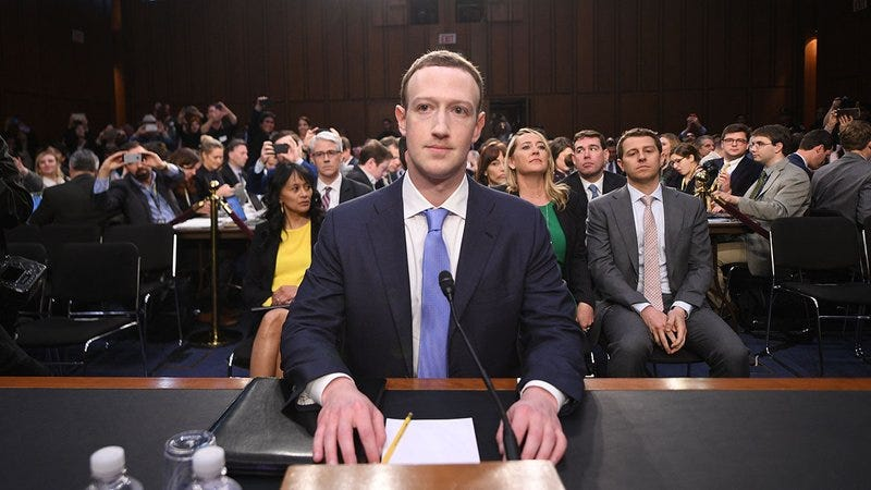 Mark Zuckerberg testifying before Congress.