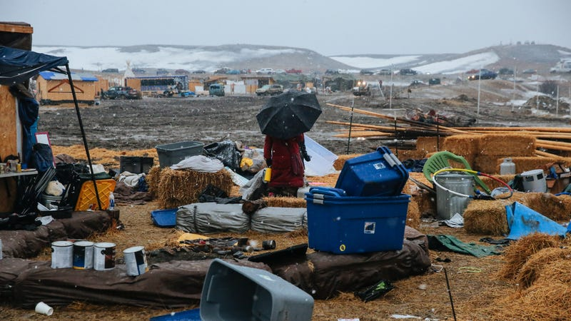 People prepare to leave the protest camp against the Dakota Access Pipeline in North Dakota in February 2017.