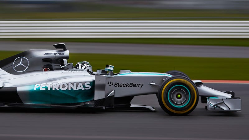 Illustration for article titled Mercedes Unveils W05 2014 F1 Car And Immediately Crashes It