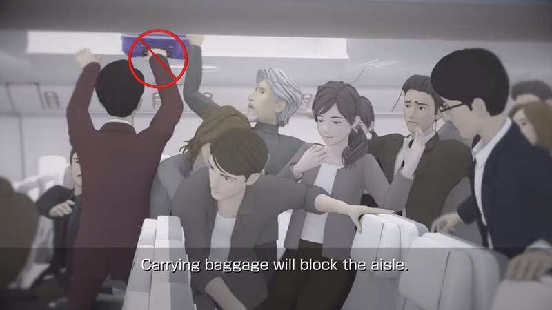 Illustration for article titled See What Happens When People Disregard Safety Instructions in a Plane Emergency