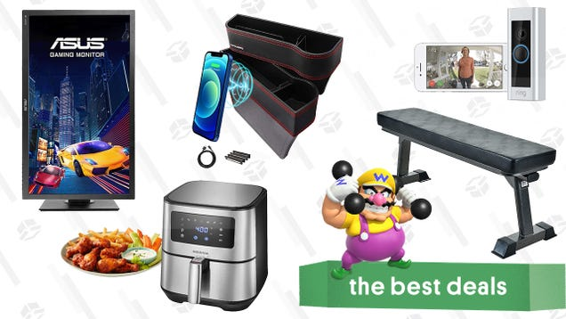 Sunday s Best Deals: Ring Video Doorbell Pro, Asus 27  Gaming Monitor, Car Seat Gap Fillers, Workout Bench, Digital Air Fryer, and More