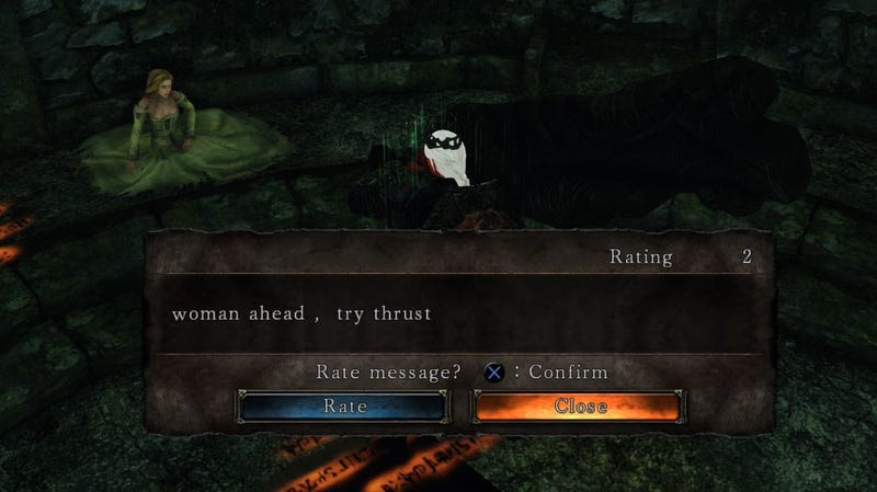 From Dark Souls 2: Message left next to a Milfanito.