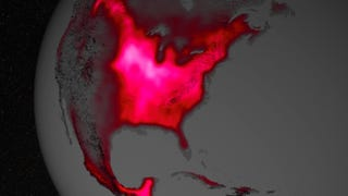Illustration for article titled Uh, Why Is This Satellite Image Of The U.S. Glowing Red?