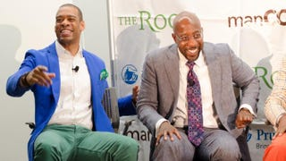 11Alive news anchor and panel moderator DeMarco Morgan with panelist the Rev. Dr. Raphael G. Warnock, senior pastor at Atlanta's Ebenezer Baptist Church, during The Root's manCode event in Atlanta June 17, 2015.Girard Hale/The Root