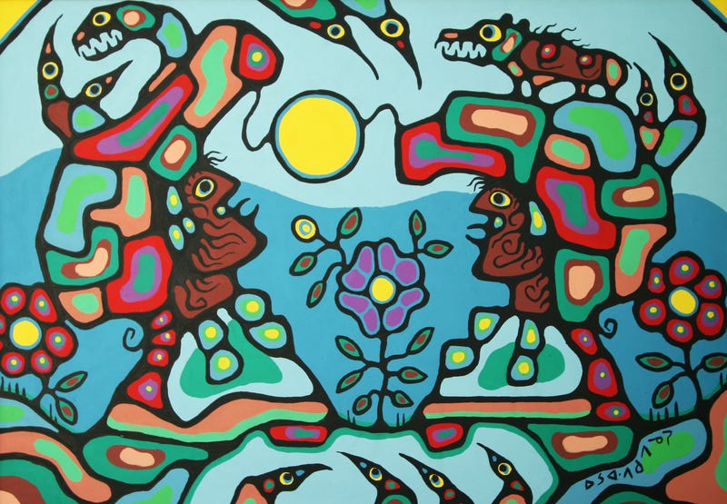 Indigenous Canadian artist Norval Morrisseau suffered from Parkinson's disease—a neurological disorder that's detectable by analyzing the fractal patterns found in his brush strokes. (Image: Morrisseau, Gathering Shamans, 1972)