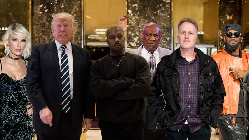 Taylor Swift, Donald Trump, Kanye West, Bill Cosby, Michael Rapaport and R. Kelly
