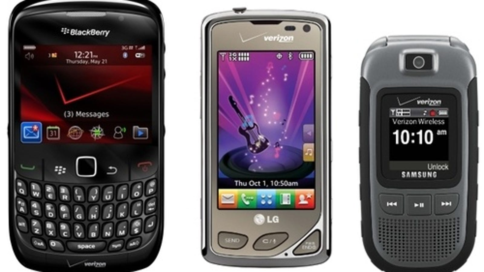 LG Chocolate Touch, BlackBerry Curve 8530, and Samsung Convoy