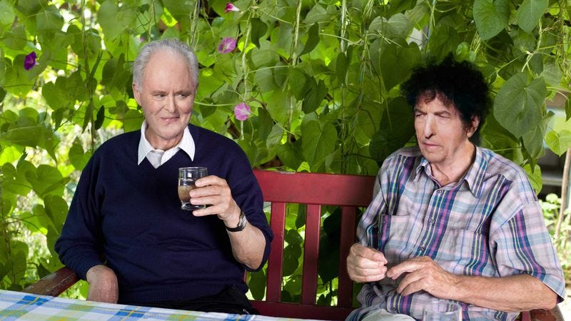 John Lithgow and Bob Dylan hanging out.
