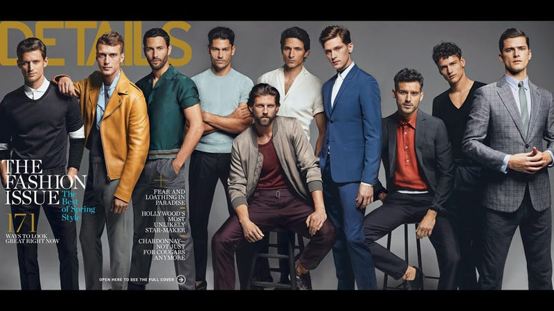 Illustration for article titled 10 Male Models Do Their Best Blue Steel on the March Cover of Details