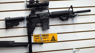 An AR-15 is seen for sale on the wall at the National Armory gun store in Pompano Beach, Fla., Jan. 16, 2013. Joe Raedle/Getty Images