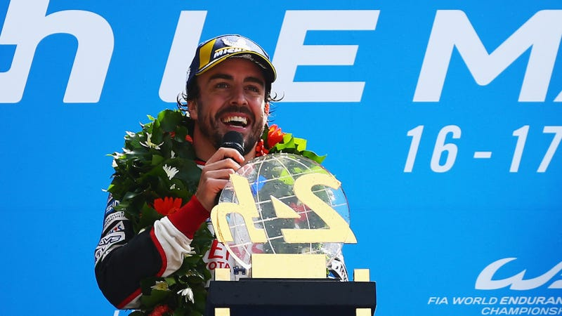 Fernando Alonso after winning the 24 Hours of Le Mans.