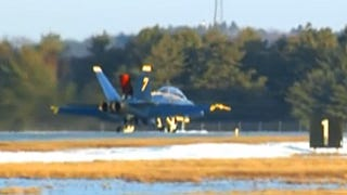Illustration for article titled Watch Blue Angel #7 Ice Skate Off The Runway At Brunswick Airport