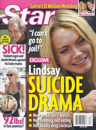 Illustration for article titled This Week In Tabloids: Lindsay's On Suicide Watch