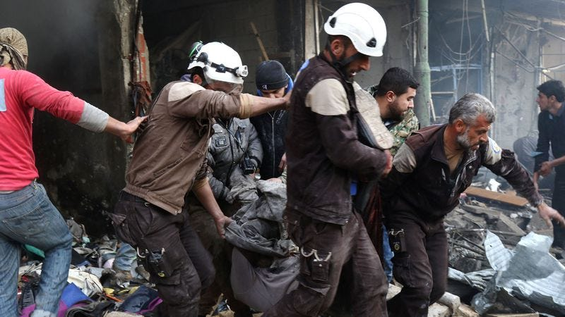 Members of the White Helmets, the subjects of the Oscar-nominated documentary short. (Photo: Mohamed Al-Bakour/AFP/Getty Images)