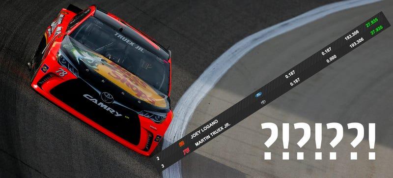 Photo credit: Getty Images; timing data screencap via NASCAR.com.