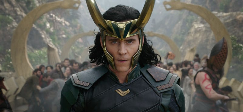 Loki, seen here in Thor: Ragnarok, might be worshiped on Earth now. Image: Disney