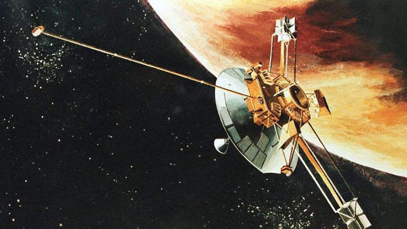 An artist rendition of the Pioneer 10 spacecraft passing Jupiter (Photo: John G. Mabanglo/Getty Images)